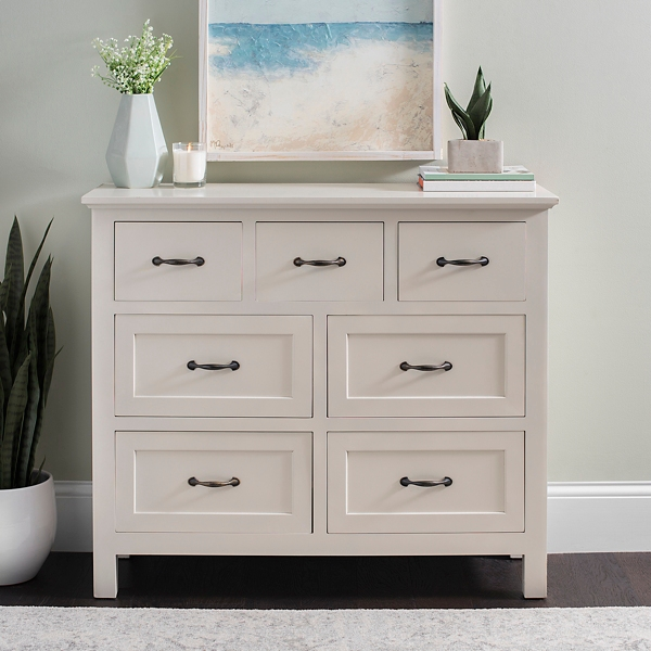 Cream 7-Drawer Chest with Black Handles