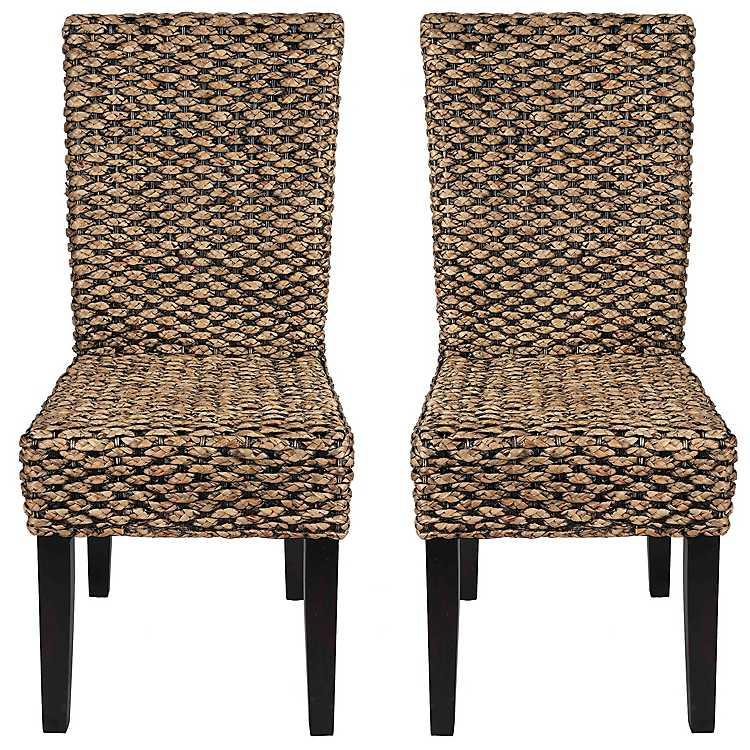 Alana Water Hyacinth Parson Chairs Set, Water Hyacinth Furniture