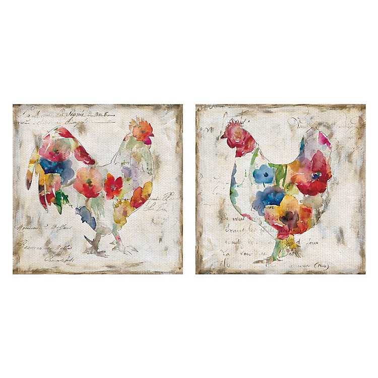 Flowered Chicken Canvas Art Print Set Of 2 Kirklands