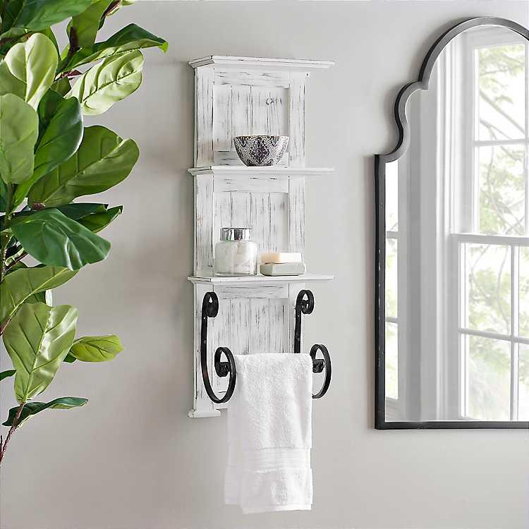 White Beadboard Shelves With Towel Bar Rack Kirklands
