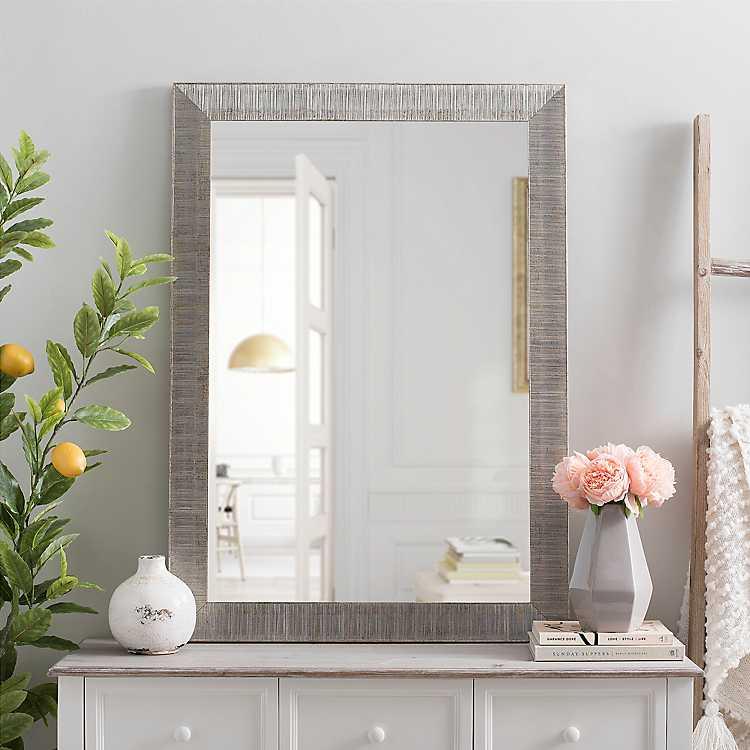 Silver Wave Framed Wall Mirror 24x36