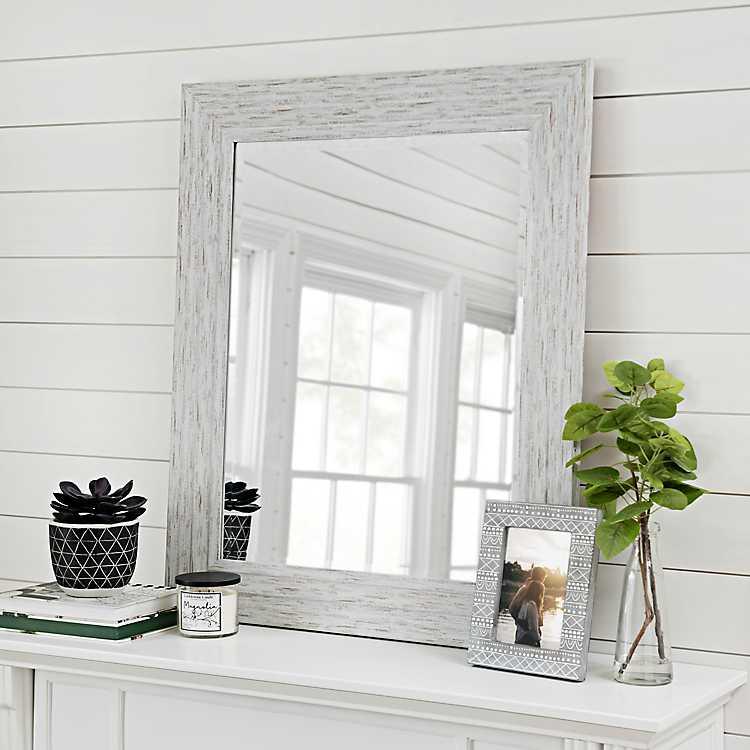 Weathered Gray Wall Mirror 29x35 In Kirklands
