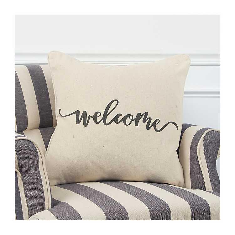 Welcome Sentiment Accent Pillow Kirklands