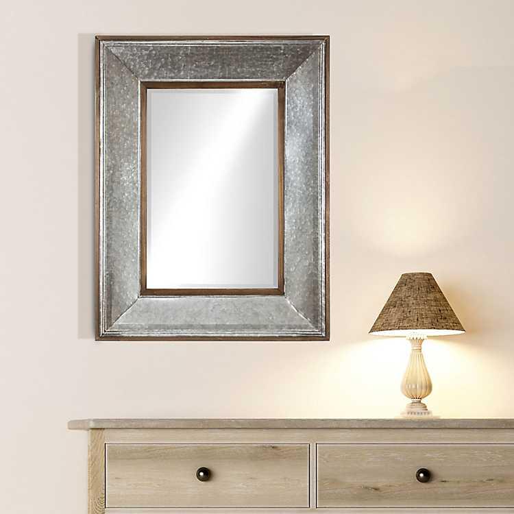 Rustic Wood And Galvanized Metal Framed Mirror Kirklands