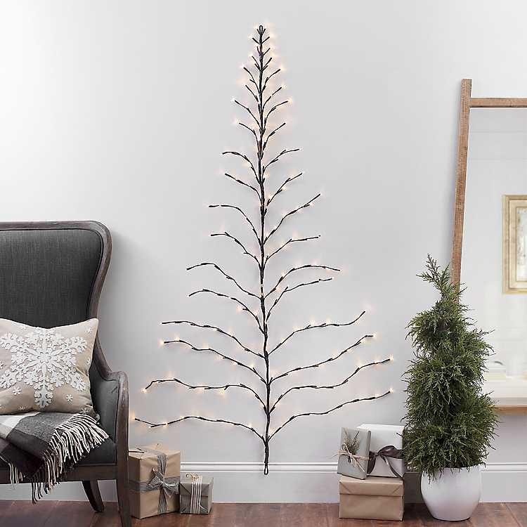 6 Ft Pre Lit Twig Wall Hanging Christmas Tree Kirklands