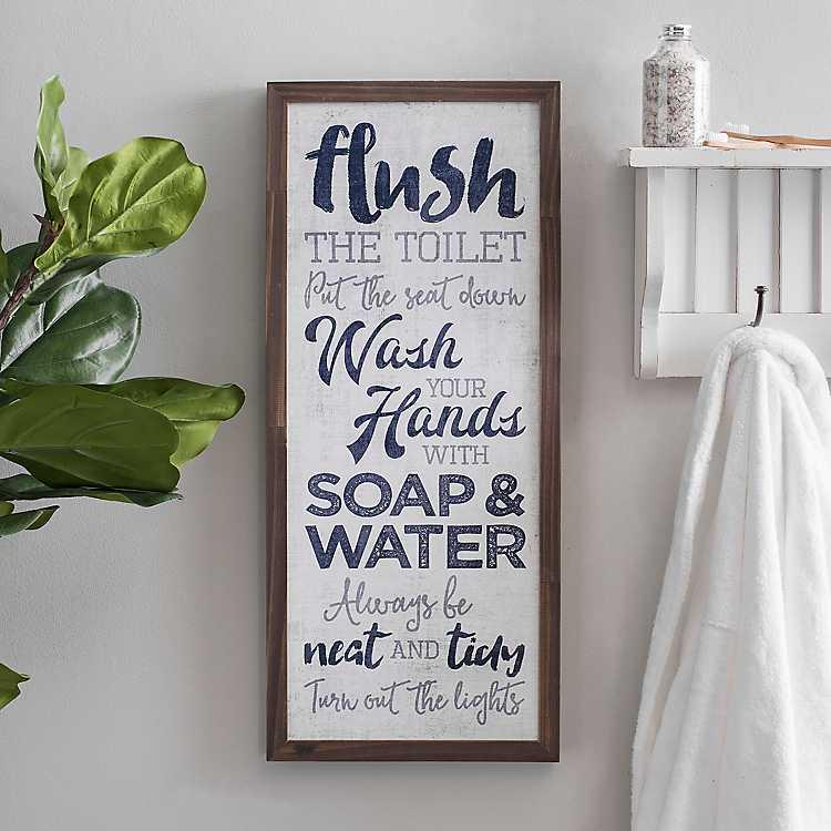 Bathroom Rules Typography Wall Plaque, Bathroom Rules Plaque