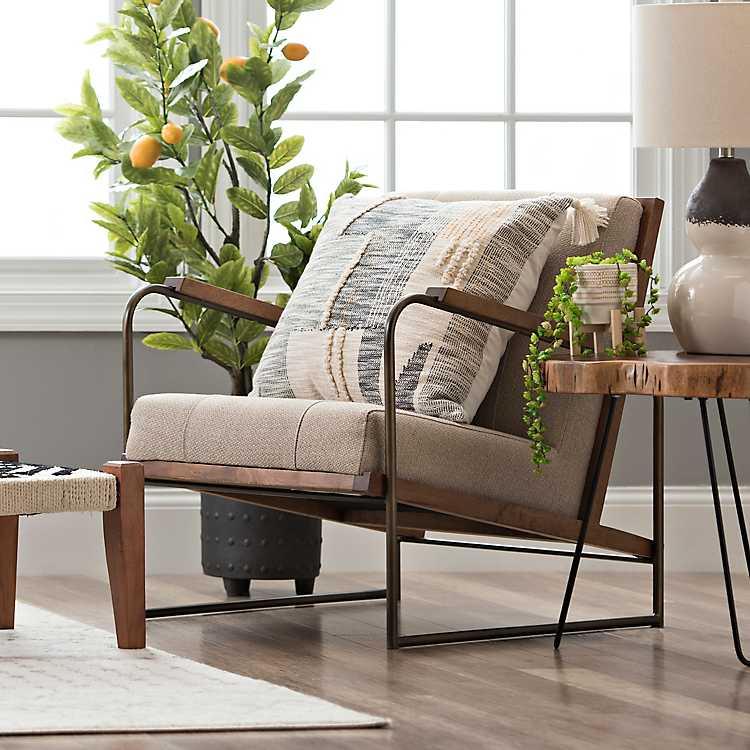Modern Formal Living Room, Upholstered Metal And Wood Martin Accent Chair Kirklands