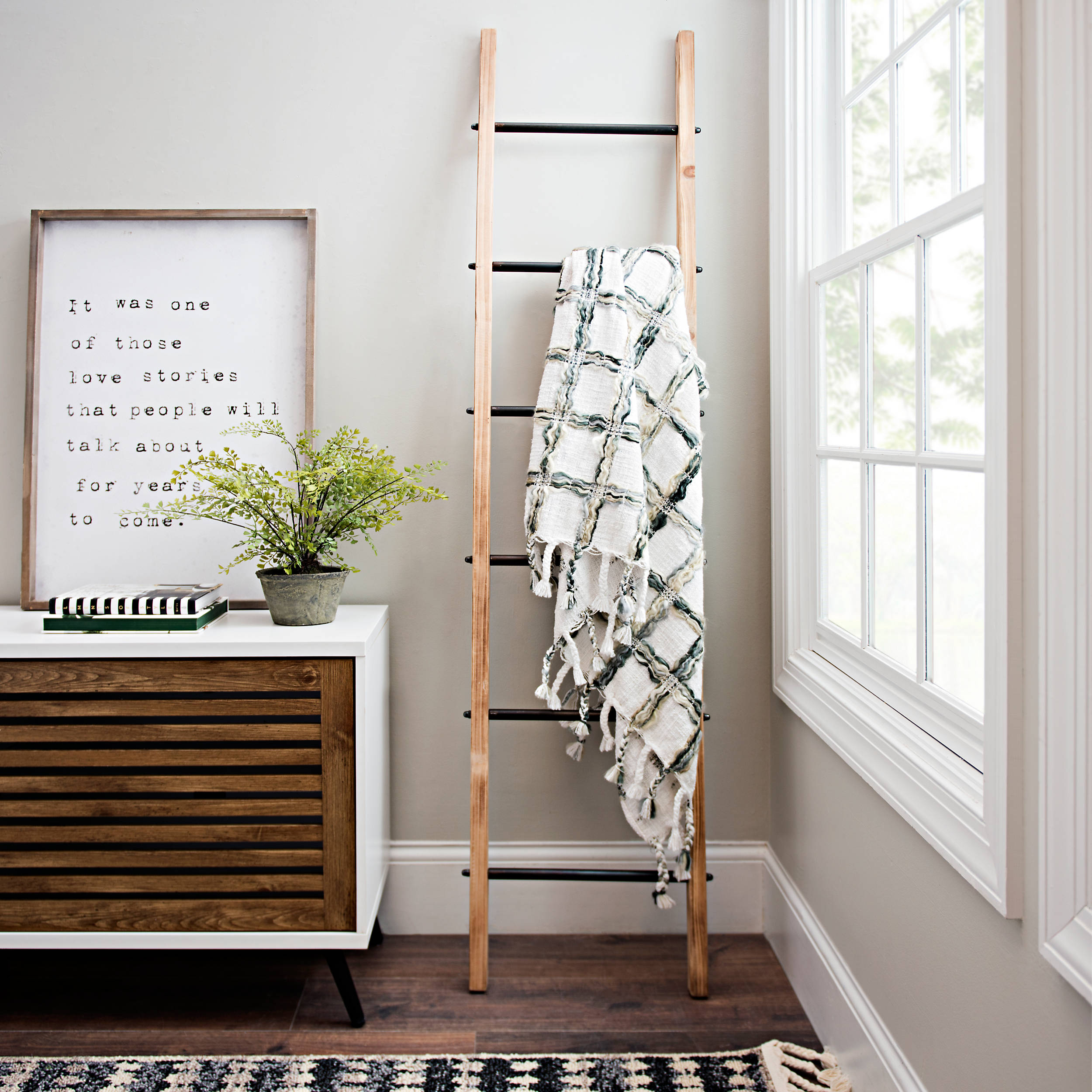 Shop Natural Wood and Black Metal Ladder from Kirkland's on Openhaus