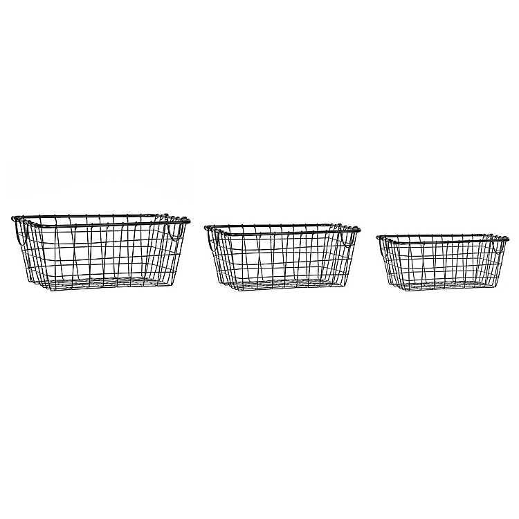 Black Metal Wire Baskets Set Of 3 Kirklands