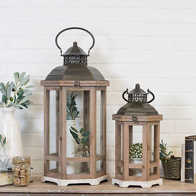 Wooden Hexagon Lanterns With Metal Tops Set Of 2 Kirklands