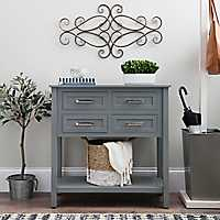 Gray Beaded 4-Drawer Console Table