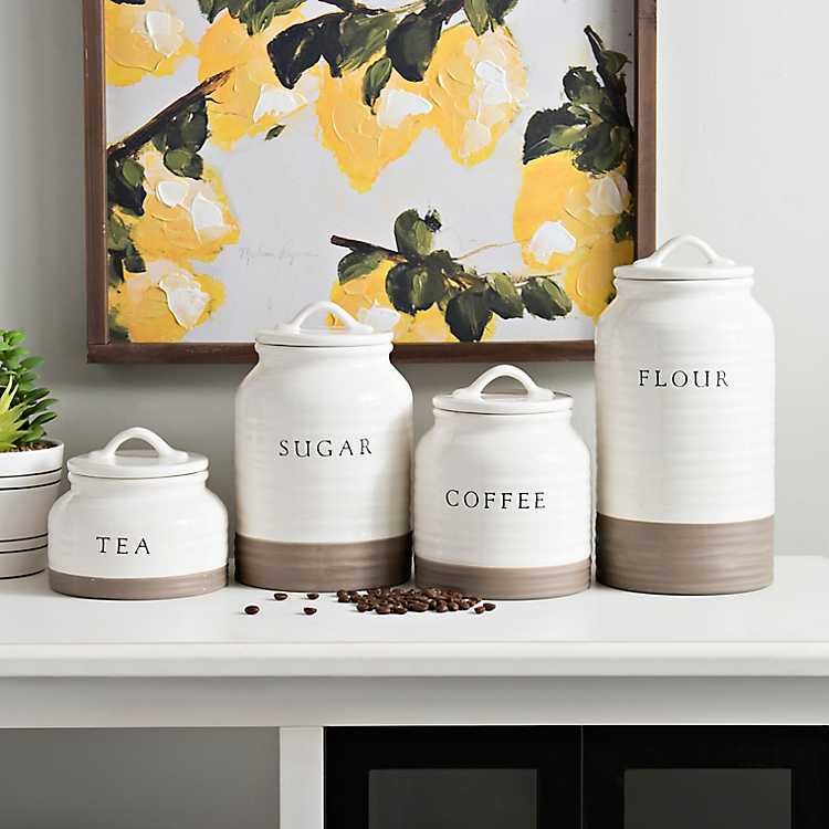 Two Tone Modern Farmhouse Canisters Set Of 4 Kirklands