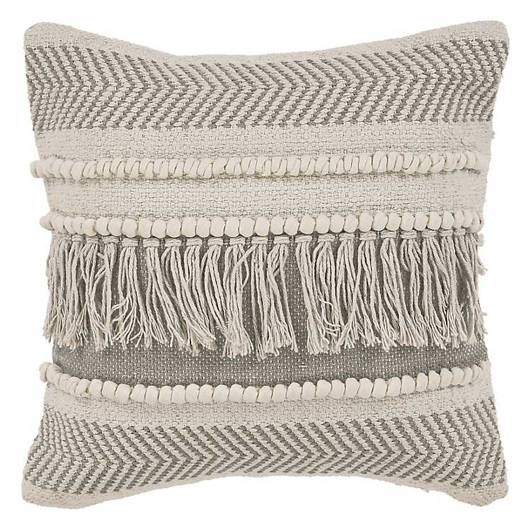 Beige Comfort Fringe Pillow Kirklands
