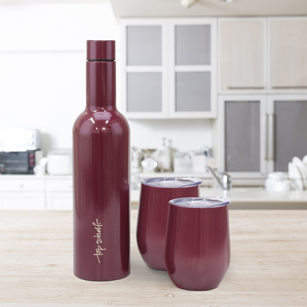 Insulated Maroon Wine Bottle and Glasses 3-pc. Set