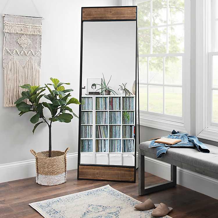 Wood And Black Metal Cheval Mirror, Full Length Mirror Black Metal Frame