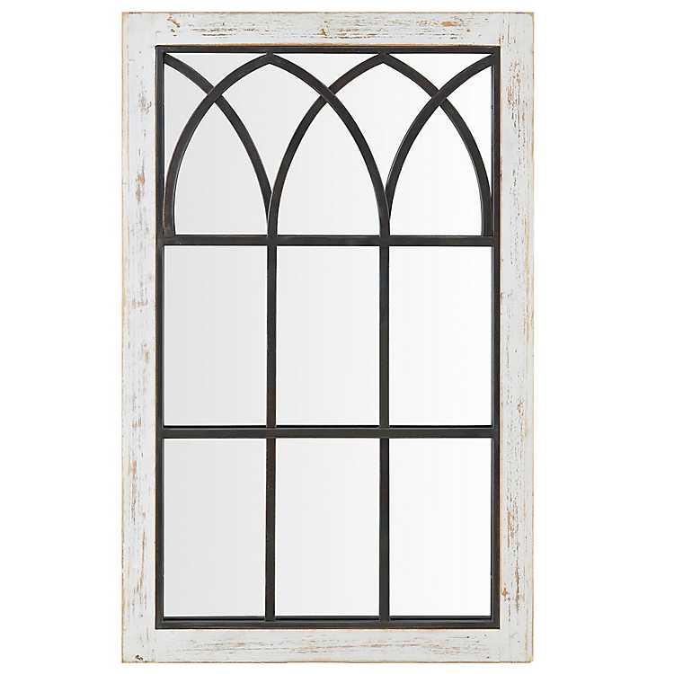 Vista Arched Windowpane Mirror 19x33, Arched Window Pane Mirror Large