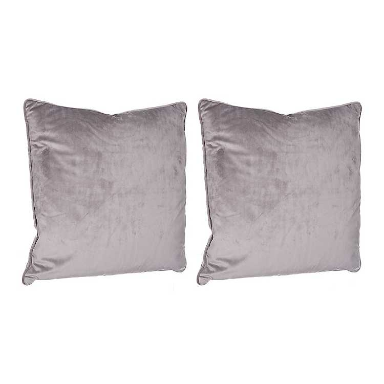 Gray Solid Velvet Pillows Set Of 2 Kirklands