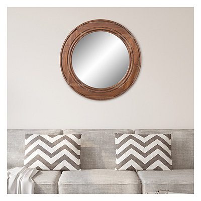 Round Reclaimed Wood Wall Mirror 31 5, Carved Wood 35 Round Mirror