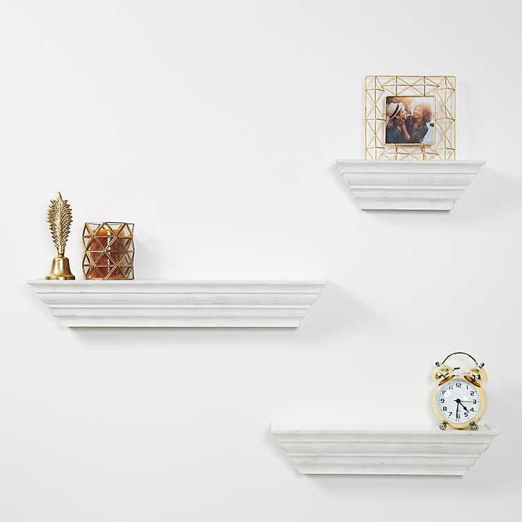 Traditional White Floating Shelf Set Of 3 Kirklands