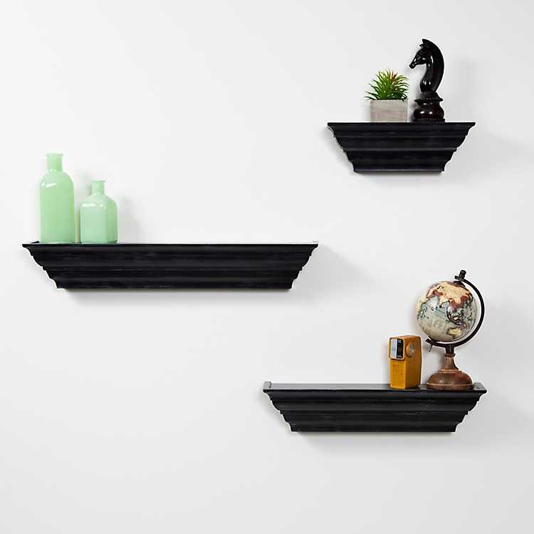 Traditional Black Floating Shelf Set Of 3 Kirklands