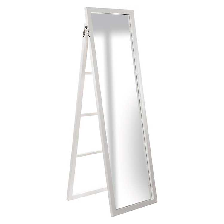 White Framed Floor Mirror With Easel, White Floor Mirror With Easel