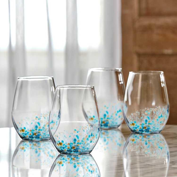 Blue Callie Stemless Wine Glasses Set Of 4 Kirklands