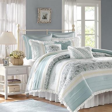 Blue Valerie 9 Pc Queen Comforter Set, Madison Park Bedding Lyla