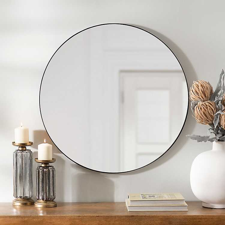 Round Black Metal Mirror 30 In Kirklands