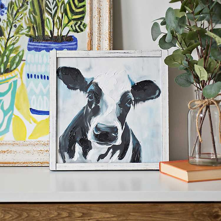 Black And White Cow Framed Art Print Kirklands