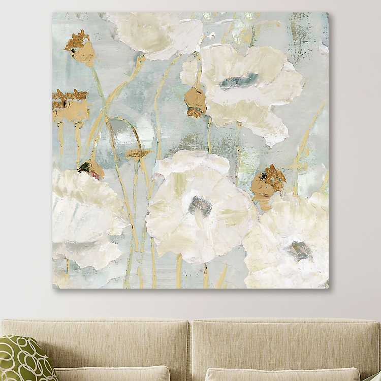 Cream Poppies In The Wind Giclee Canvas Art Print Kirklands
