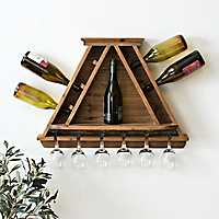 Wooden Wine Bottle and Glass Storage Shelf