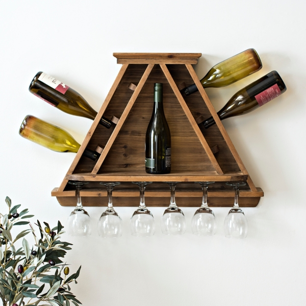 Wooden Wine Bottle and Glass Storage Shelf