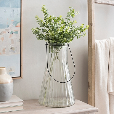 Clear Ribbed Glass Vase With Handle Kirklands