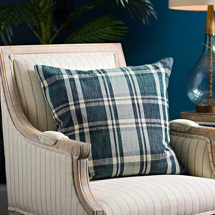 Large Blue Plaid Pillow Kirklands