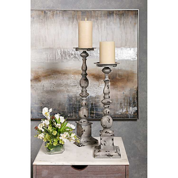 Weathered Wrought Iron Candle Holders Set Of 2 Kirklands