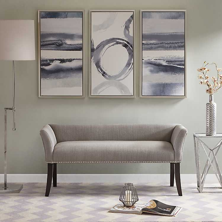 Silver Gray Melinda Accent Bench, Living Room Bench