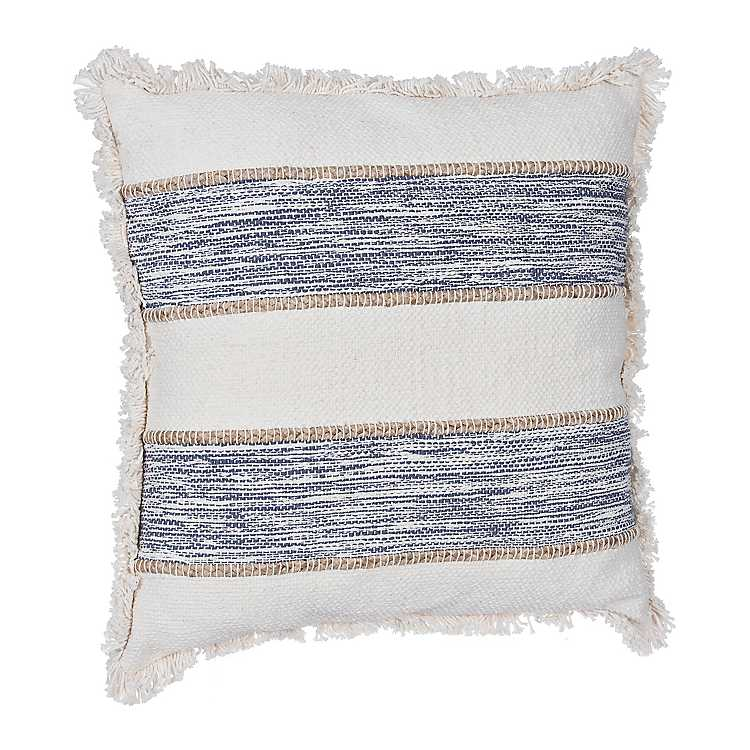 Cream And Navy Pillow With Jute Stripes 22 In Kirklands