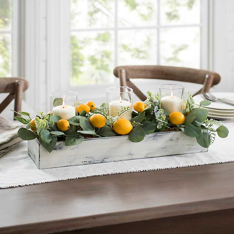 Lemon And Eucalyptus Candle Centerpiece Kirklands