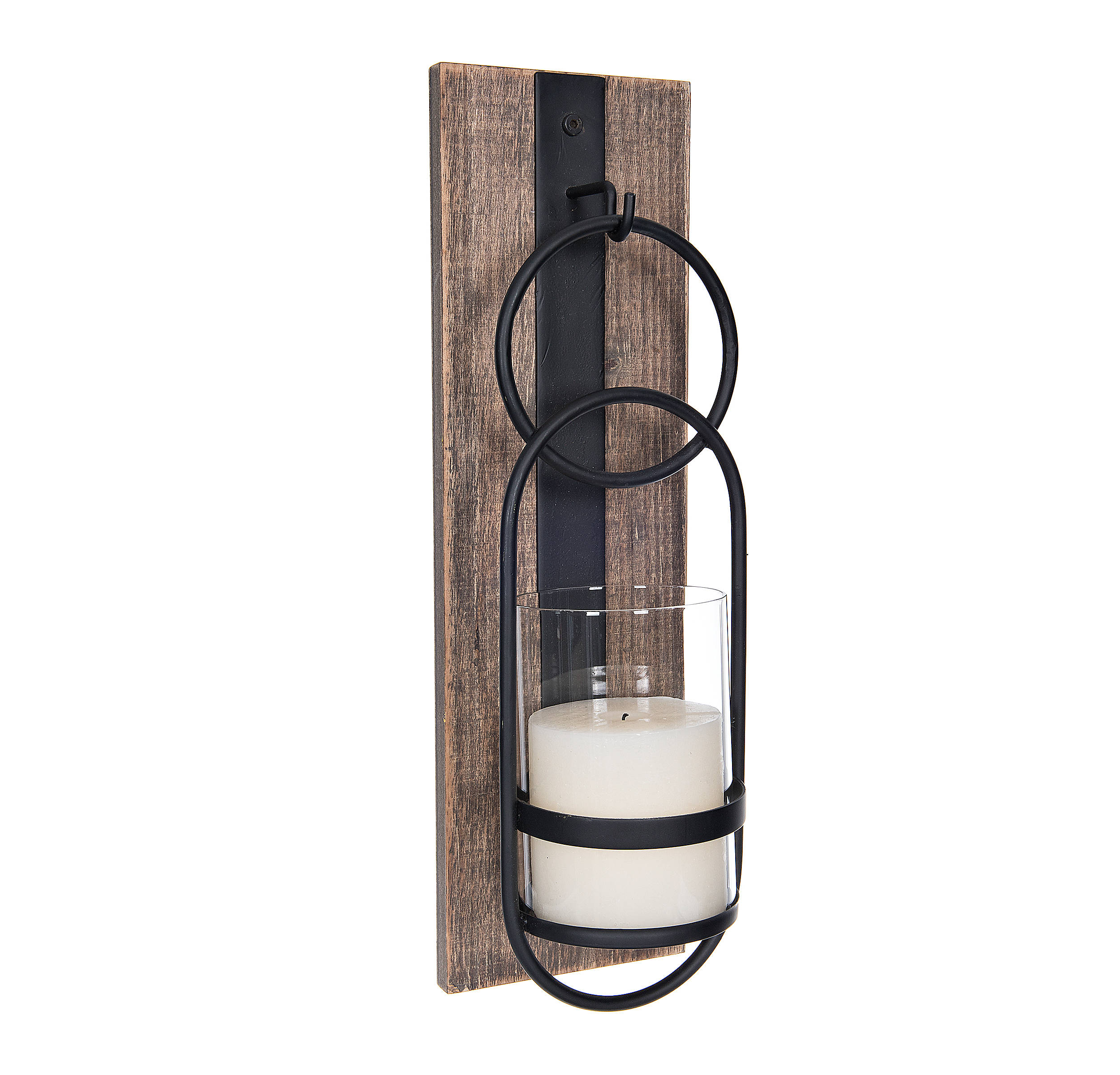 Shop Wood and Black Metal Geometric Sconce from Kirkland's on Openhaus