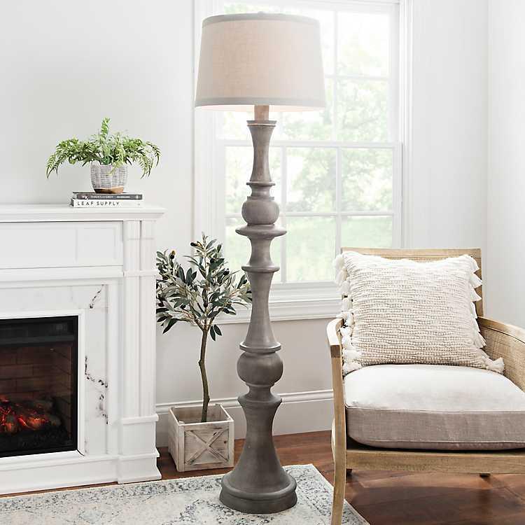 Gray Wood Laney Floor Lamp Kirklands