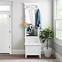 White Mud Room Shelf with Hooks and Mirror