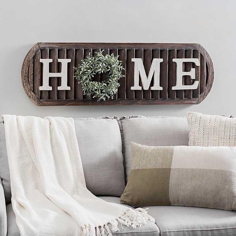 Home With Wreath Dark Shutter Wall Plaque Kirklands