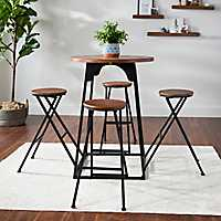 Dark Finish Bar Table with Fold Out Stools