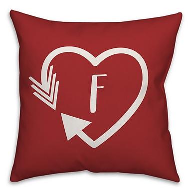 Red Heart Monogram R Outdoor Pillow Kirklands
