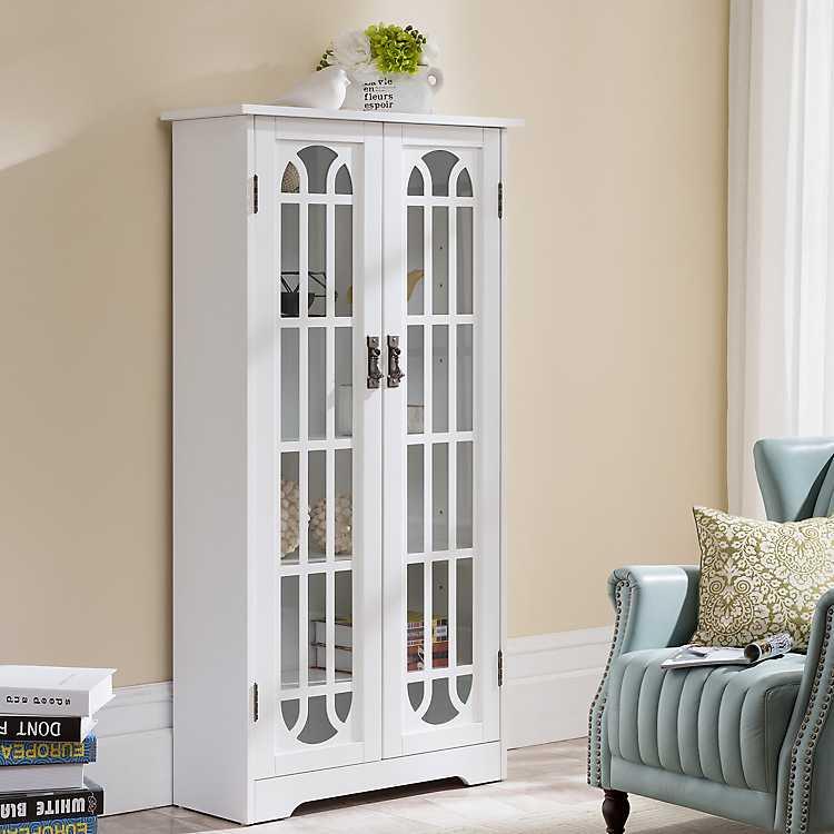 Antique White Tall Windowpane Cabinet Kirklands