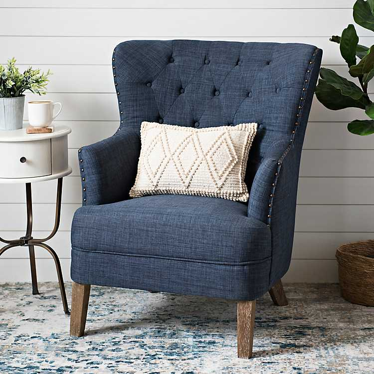 Navy Tufted Accent Chair With Nailhead, Blue Accent Chairs For Living Room