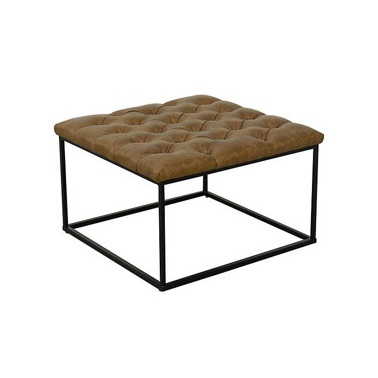 Brown Faux Leather Tufted Ottoman Kirklands