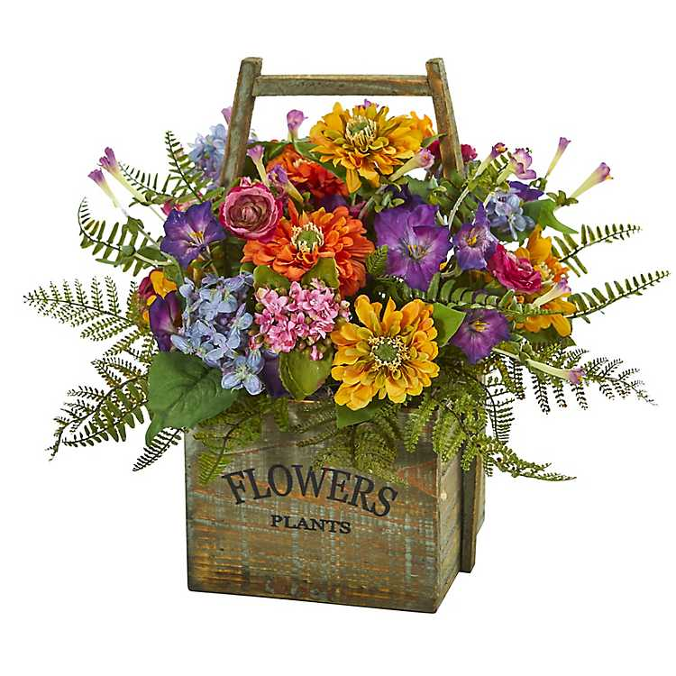 Mixed Floral Arrangement In Wood Basket Kirklands