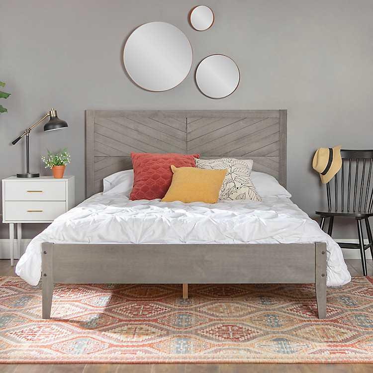 Gray Solid Wood Queen Bed Kirklands, Solid Wood Queen Bed