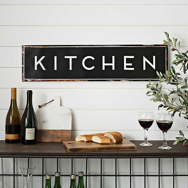 Distressed Black Kitchen Wall Plaque Kirklands
